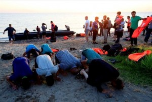 Garas refugees on beach