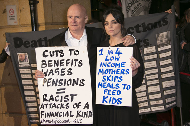 Actors Dave Johns and Hayley Squires, pose for photographers upon arrival at the premiere of the film 'I, Daniel Blake', at a central London, Tuesday, Oct. 18, 2016. (Photo by Joel Ryan/Invision/AP)